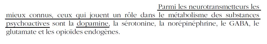 25 - Dépendance - 6 neurotrans. principaux