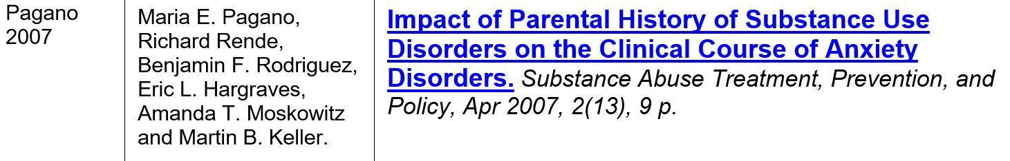 _pagano 2007 sud parent et anxiété enfant